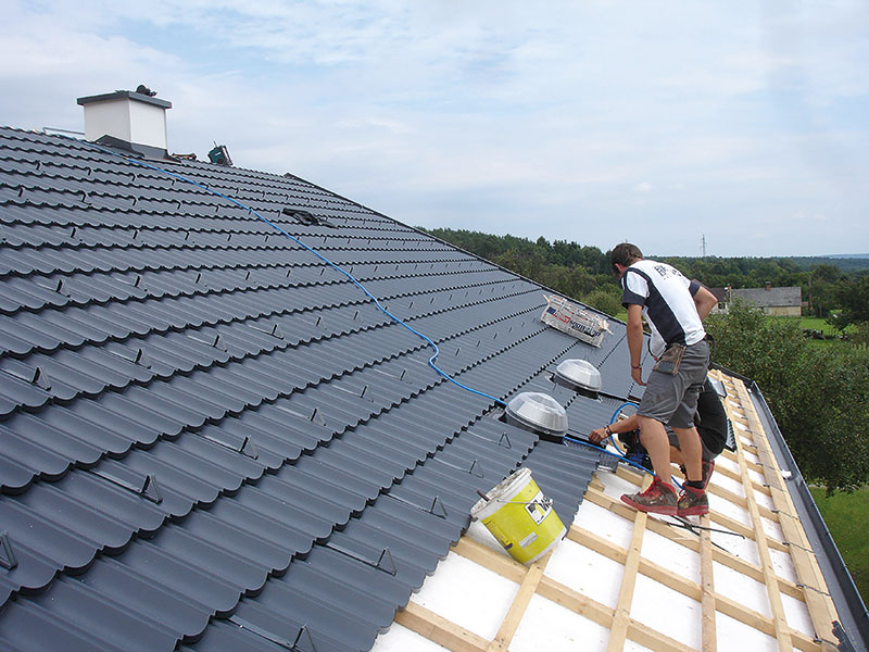 Verlegung der Dachziegel
