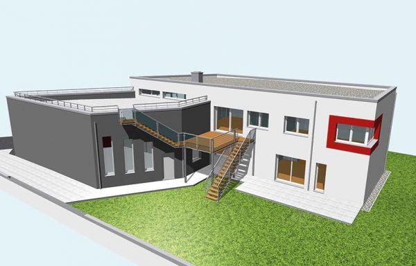 Bürogebäude / Verkaufsraum und Privatbereich als PASSIV Haus